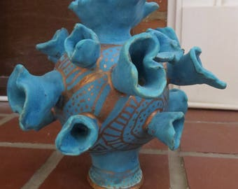 Turquoise coral flower vase