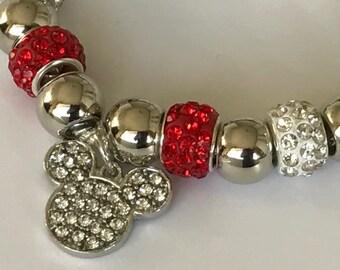 Mickey Mouse Charm Bracelet - European Charms - Large Bead - Diamanté Girls Bracelet