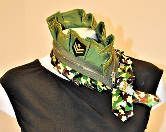Rebajas-sales - necklace handmade military camouflage woman-unique scarf tie-upcycled necktie neck tie-new - tie for woman-fashion necklace