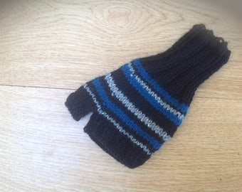 mittens striped fabulous fingerless mittens in black,blue and silver with a hint of sparkle