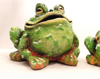Garden Frogs, Fat Frogs, Indoor or Outdoor Frogs, Patio Art, Hand painted, Frogs, Plaster, Green, Orange, Large Frogs