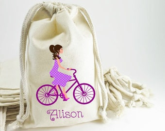 Bicycle Party Favor Gift Bag,Bike,Girl On Bike Welcome Bag,Birthday Girls Party Gift Bag, Custom, Pouch, Loot, Drawstring Bag, Choose Colors
