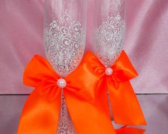 Wedding Glasses, Copper GlassesWedding Glasses Toasting Glasses Champagne glasses wedding flutes wedding champagne glasses toasting flutes