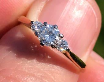 0.44 carat diamond vintage 18k ct platinum gold 3 stone wedding engagement ring 2.5g UK Size N IS 6.5