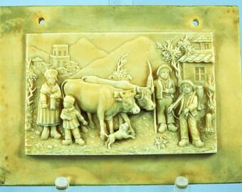 Antique Alabaster Miniature Plaque