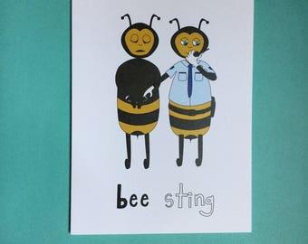 Bee Sting blank greeting card