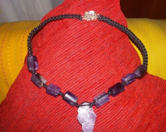 Necklace leather and Amethyst polished and rough