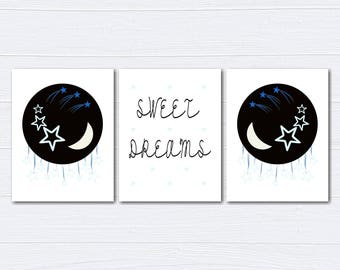 Outerspace Nursery Decor/Nursery Wall Art/ Kids Bedroom Decor/Outerspace/Planets/Sweet Dreams/Nursery Canvas/ Set of 3