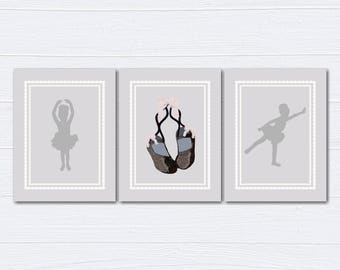 Ballerina Nursery Decor/Nursery Wall Art/ Kids Bedroom Decor/Ballerina/Nursery Canvas/ Set of 3