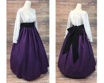 Complete Outfit - Skirt, Blouse and Sash - Renaissance Civil War Victorian Southern Belle LARP Cosplay Medieval Pioneer Dress Costume