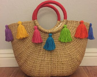 Straw Tote with Colorful Tassles