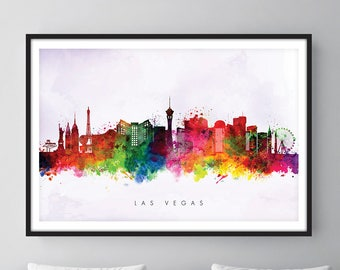 Las Vegas Skyline, Las Vegas Nevada Cityscape Art Print, Wall Art, Watercolor, Watercolour Art Decor [SWLAS02]