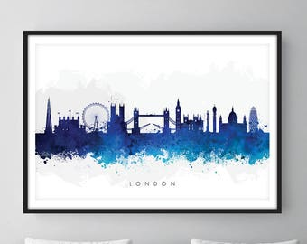 London Skyline, London Cityscape England, Art Print, Wall Art, Watercolor, Watercolour Art Decor [SWLDN06]