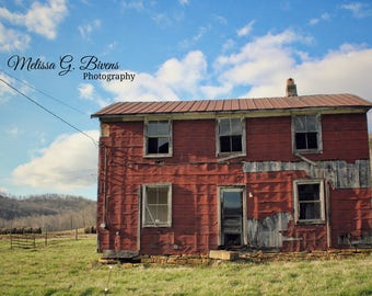 Abandoned Farm House on Quick's Run, Kentucky, red house