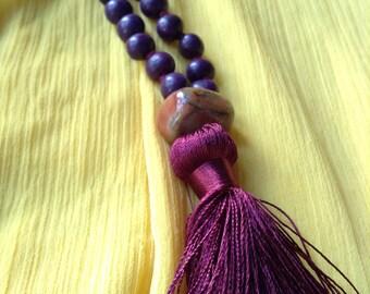 Japa Mala - Purple and Blue - 108 Acai Beads with Spacers and Guru Bead