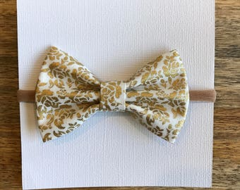 Metallic Gold and white nylon headband, barrette, or ponytail