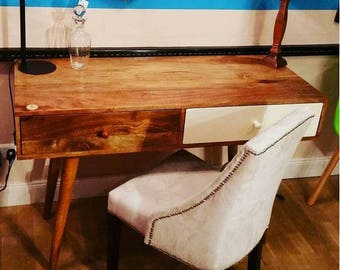 Desk Leyla in the industrial style from solid Sheesham wood