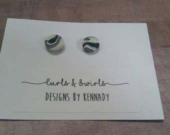 Black and White Marble Earrings