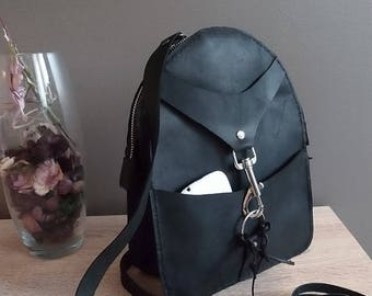 Handmade Leather Backpack/ black small vintage city rucksack Women