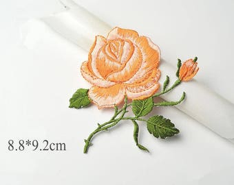 3pcs Rose Flower applique,Floral Patches Pink Flower Patches ,Applique Patches For Jackets,Red Flower Patches,Rose Flower applique