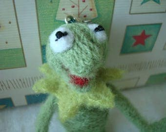 Needle felted Kermit the Frog (The Muppets) plush keychain