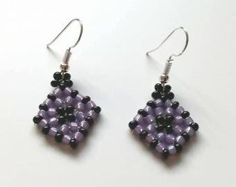 Funky lilac and black beaded diamand block earrings