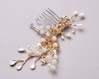 Gold Hair Comb, Bridal Hair Comb, Wedding Hair Comb, Bridal Hairpiece, Gold Hairpiece, Wedding Hairpiece, Hairpiece