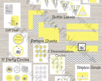 Elephant Birthday Party Package ~ Printable Party Decorations