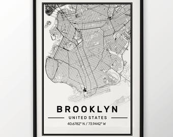 Brooklyn City Map Print, Modern Contemporary poster in sizes 50x70 fit for Ikea frame All city available London, New york Paris Madrid Rome