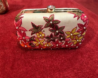 Multi Colored Single Sided Embroidered Clutch