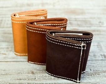 Full grain leather trifold wallet