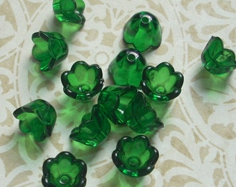 Lucite Acrylic Flower Beads, Small Bell Flowers, Translucent Emerald, 24