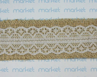 Decorative fabric with lace Ribbon ref. 210114-27