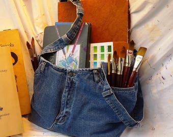 Designer Cherie IZZO Redesign Jeans REcycled Repurposed them into a LG Washable Denim Jeans Tote Bag