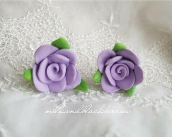 Lilac rose earrings, light purple rose studs, pretty handcrafted clay earrings