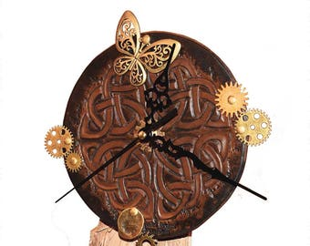 Clock steampunk fantasy and Celtic leather