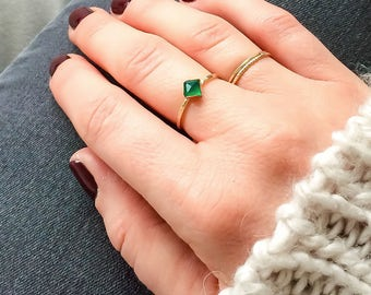 Square green onyx ring | 14k gold filled