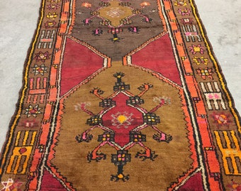 Antique Turkish 3 Medallion Runner/Area Rug
