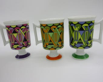 Set of Three Royal Crown Smug Mugs #5486 Artnet Footed Mugs  Psychedelic Mod
