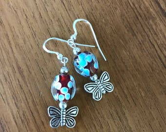 Blue and Red Butterfly Earrings