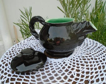 Vintage 50s green interior black porcelain teapot