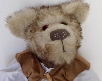 Artist Teddy Bear Rolo, Soft plush, faux fur, stuffed animal, teddy bear, handmade bear