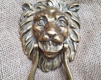 Antique Solid Brass Lion Door Knocker