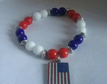 Red, white and blue American flag bracelet