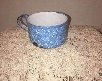 Blue Enamelware Antique Cup