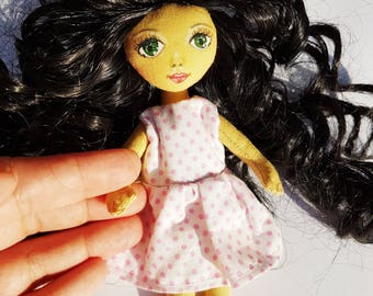 15 cm Handmade Doll With Black Curly Hair And Pink Dress Key Holder or Ornament