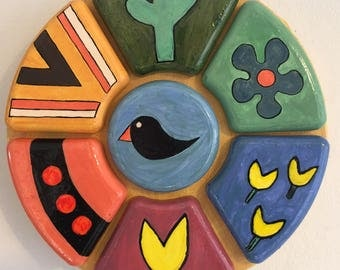Colorful Wall decorated hanging, painted  plaster cast on canvas, Mexican features