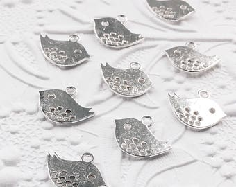 Silver Bird Charms, Small Silver Bird Charms, Mother Bird Charms, 10 pieces, 16mm x 13mm, SP001