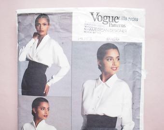 Vogue American Designer Calvin Klein  vintage retro 1980's  shirt blouse sewing pattern  Size 14