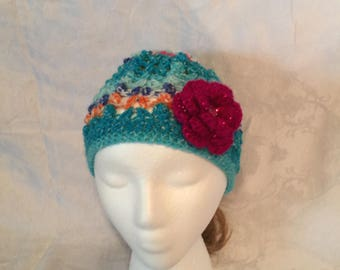 Blue/Multicolored Crocheted Hat With Detachable Flower
